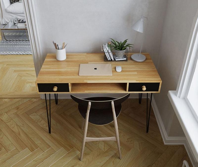 Mẫu bàn làm việc cá nhân làm từ gỗ của cây cao su