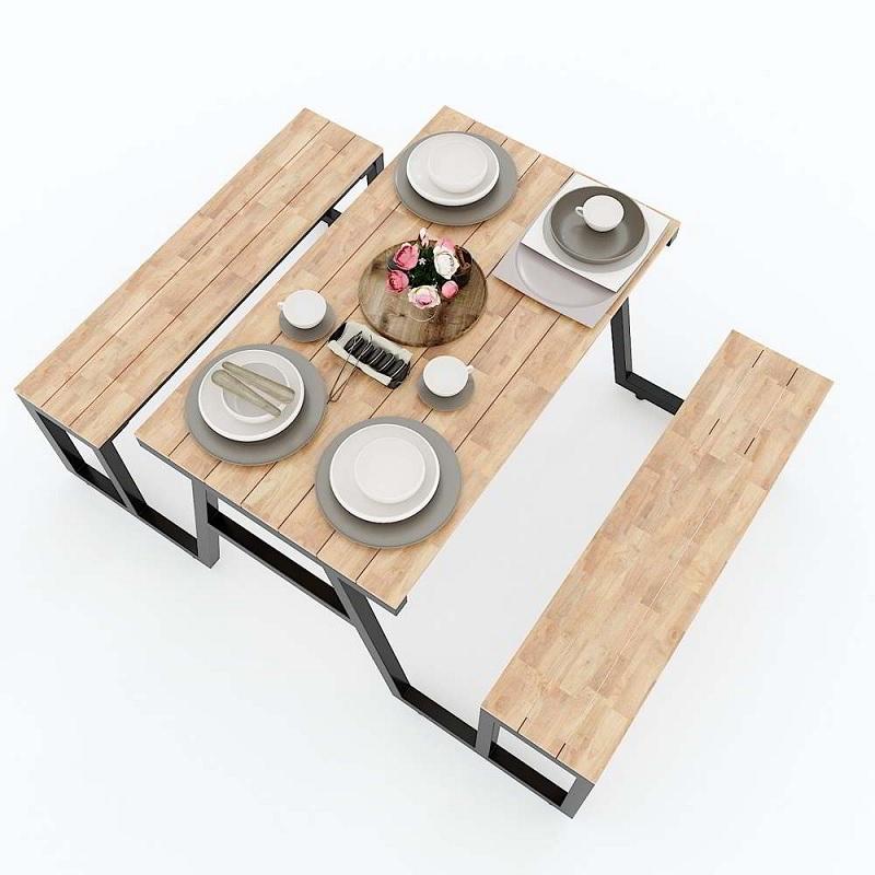 Mẫu bàn ăn ngoài trời làm từ gỗ cây cao su. Đặc biệt, sản phẩm phù hợp với những buổi dã ngoại vui vẻ cùng gia đình