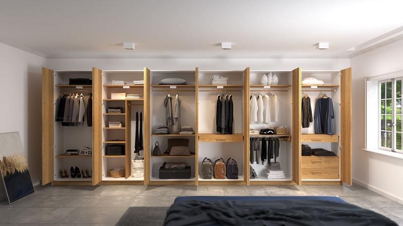 Tủ quần áo hiện đại được làm từ gỗ ghép thường mang đến cảm giác nhẹ nhàng khác biệt
