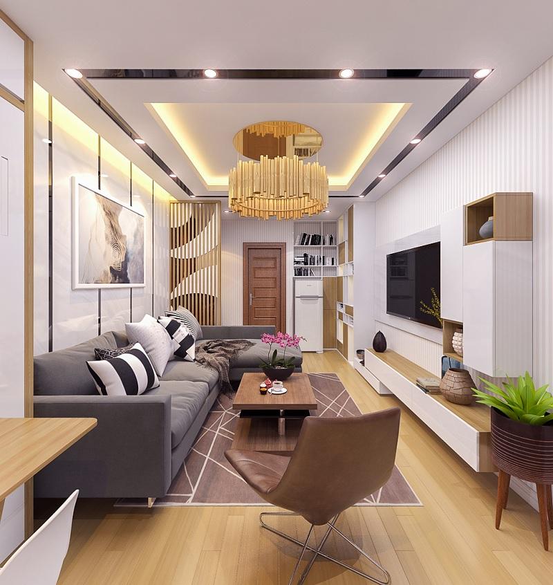 Mẫu phòng khách với gỗ ghép cho không gian nhỏ, tạo cảm giác mộc mạc tinh tế