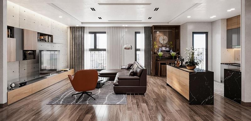Mẫu phòng khách với gỗ ghép cho không gian rộng