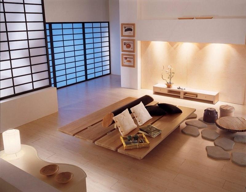 Mẫu phòng khách gỗ ghép theo phong cách Nhật Bản truyền thống