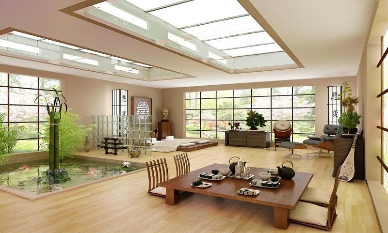 Mẫu phòng khách gỗ ghép theo phong cách Nhật Bản hiện đại
