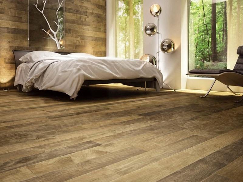 Sàn gỗ ghép tạo nên không gian mộc mạc, nhẹ nhàng