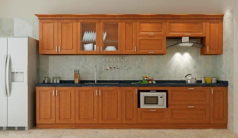 Mẫu tủ bếp gỗ xoan dáng chữ I gọn gàng và tiện lợi