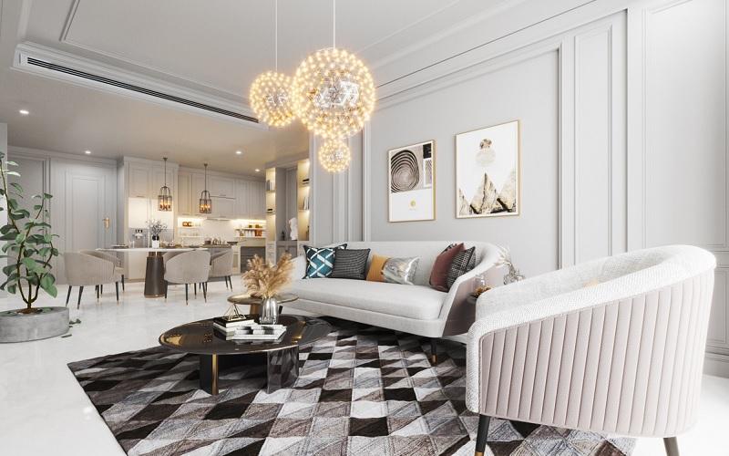 Mẫu thiết kế phòng kháchtoát lên vẻ đẹp cổ điển, hiện đại