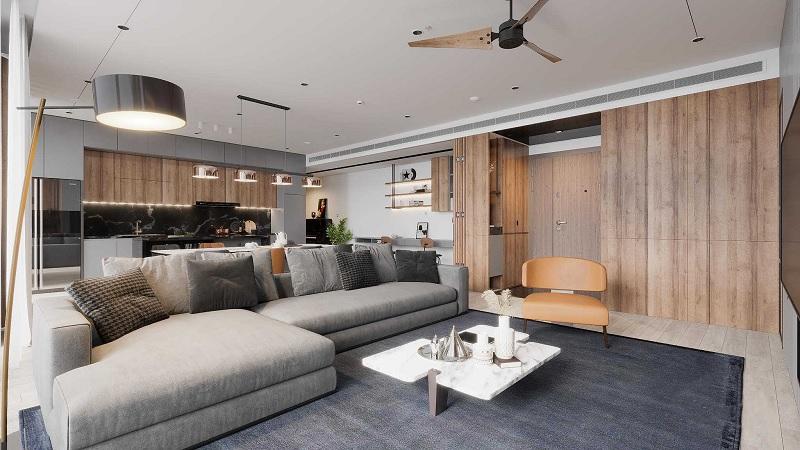 Mẫu thiết kế phòng khách hiện đại cho đại gia đình hạnh phúc