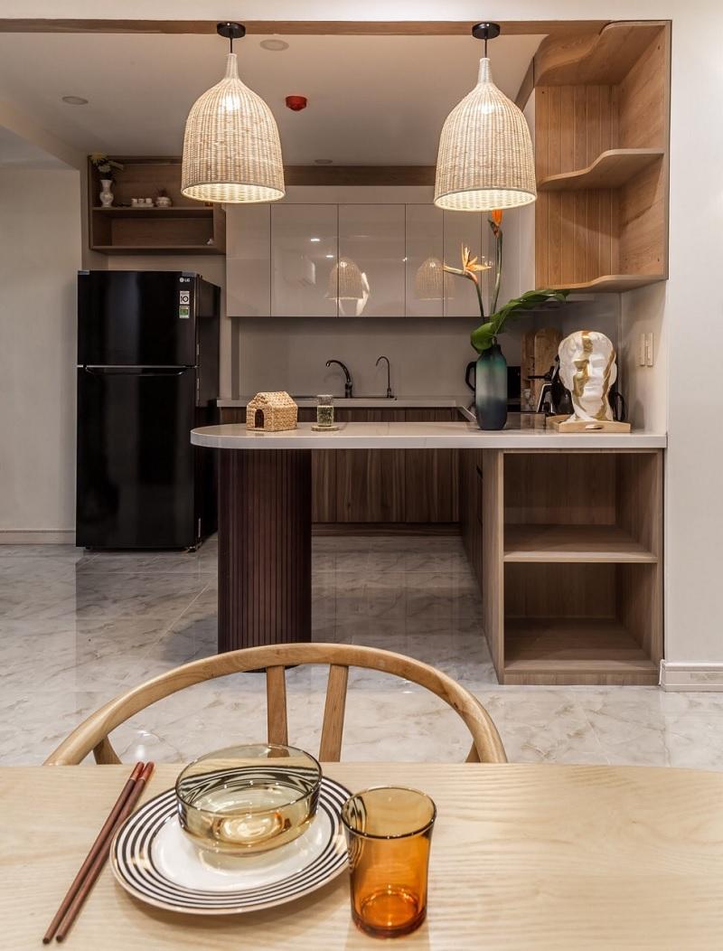 Ý tưởng 2: Mẫu phòng bếp chung cư Á Đông giản dị