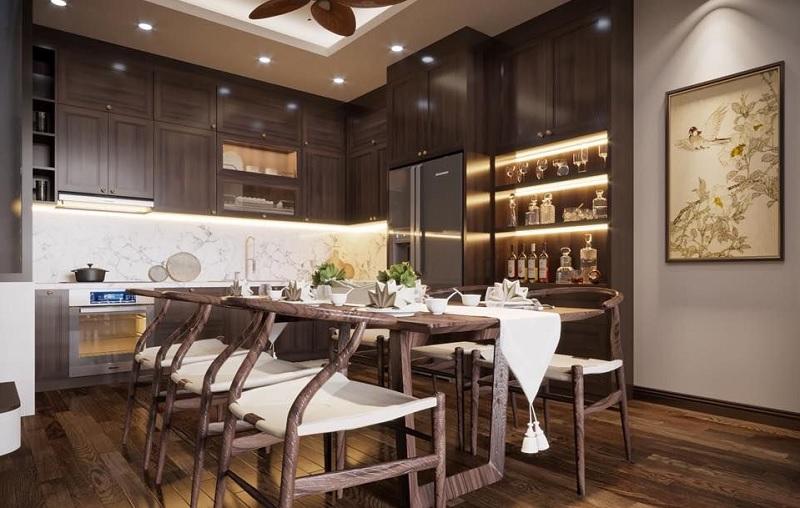 Ý tưởng 3: Mẫu phòng bếp Á Đông cho gia đình đông người
