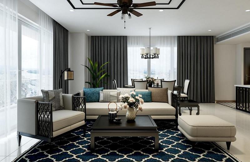 Ý tưởng 5: Mẫu phòng khách chung cư phong cách Á Đông mới mẻ