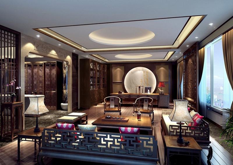 Ý tưởng 4: Mẫu phòng khách chung cư theo phong cách Á Đông tài lộc