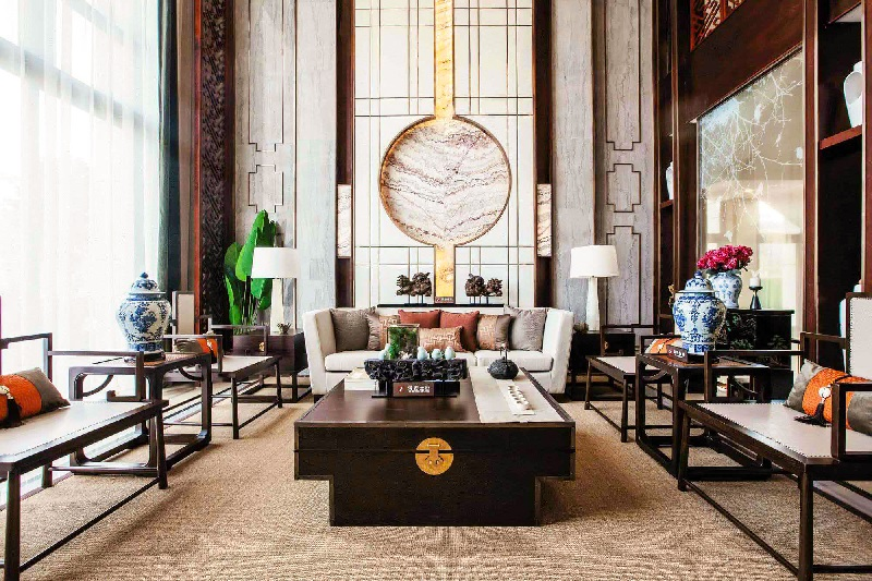 Ý tưởng 1: Mẫu phòng khách biệt thự theo phong cách Á Đông sang trọng