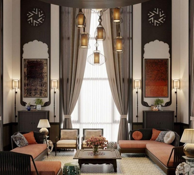 Ý tưởng 2: Mẫu phòng khách phong cách Á Đông tinh tế
