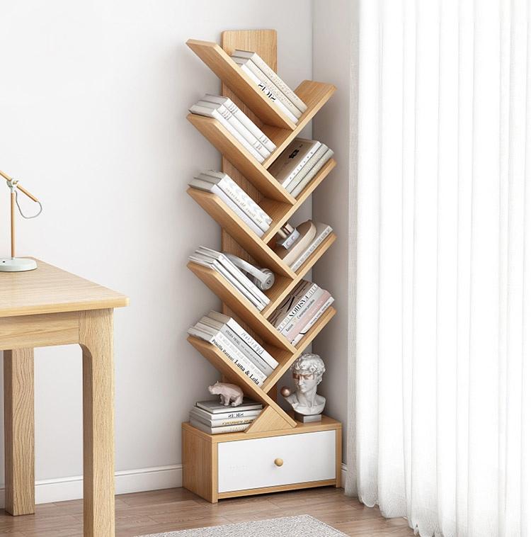 Kệ, tủ sách đứng dáng chữ W nhỏ gọn tiết kiệm không gian