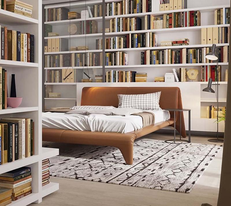 Kệ, tủ sách dáng đứng mẫu âm tường tạo cảm hứng sáng tạo cho phòng ngủ