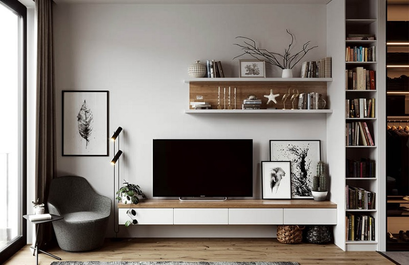Kệ sách treo tường dáng thanh gỗ thẳng đồng bộ với kệ tivi sang trọng