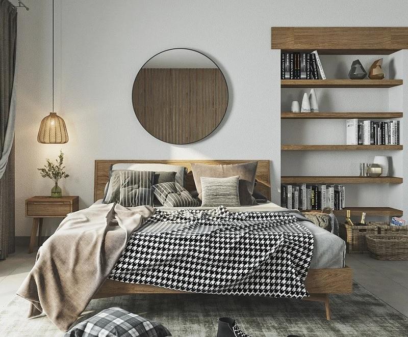 Ý tưởng 8: Mẫu thiết kế phòng ngủ với giá sách mộc mạc, Vintage