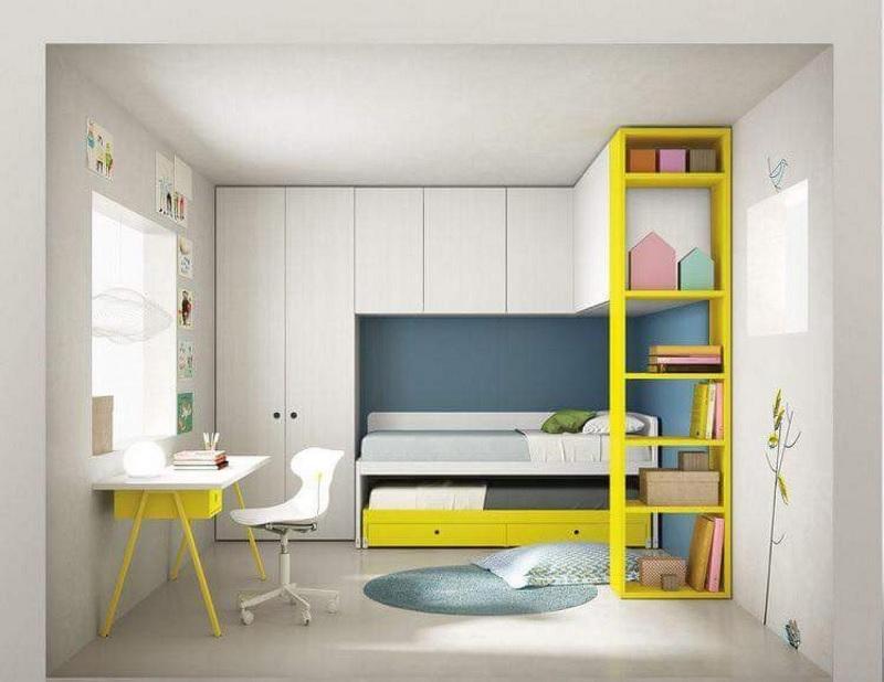 Ý tưởng 7: Mẫu thiết kế giá sách cho phòng ngủ với gam màu tươi mới