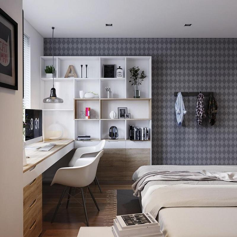 Ví trí đẹp nhất để đặt giá sách trong phòng ngủ là vị trí Đông Bắc.