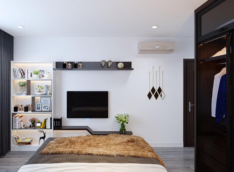 Ý tưởng 10: Mẫu thiết kế phòng ngủ với tủ trang trí hiện đại, gọn gàng