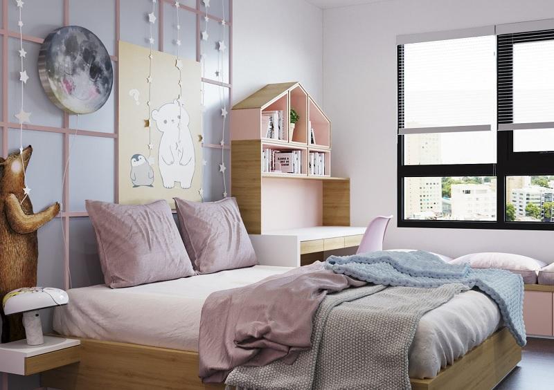 Ý tưởng 3: Mẫu giá sách phòng ngủ dành riêng cho các bé gái đáng yêu