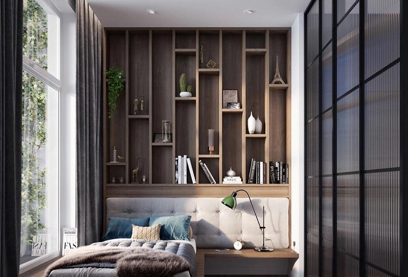 Ý tưởng 5: Mẫu thiết kế phòng ngủ với kệ sách đột phá với ý tưởng sáng tạo