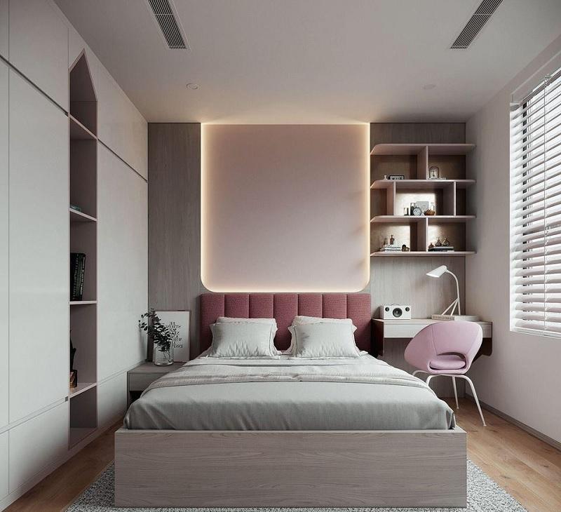 Ý tưởng 6: Mẫu thiết kế phòng ngủ với giá sách đẹp cho các nàng độc thân