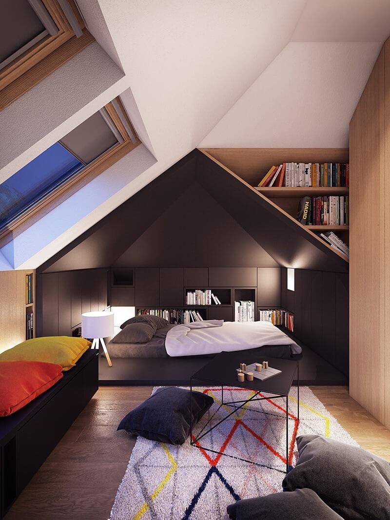 Ý tưởng 2: Mẫu thiết kế phòng ngủ với giá sách mang tính nghệ thuật sáng tạo