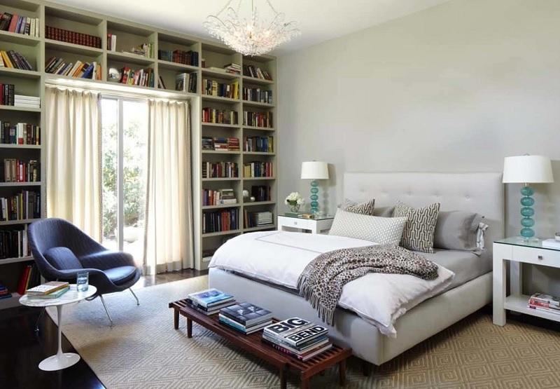 Ý tưởng 9: Mẫu thiết kế phòng ngủ với giá sách thông minh theo hơi hướng cổ điển
