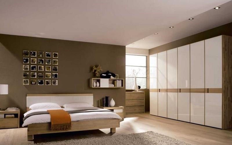 Kệ sách treo tường hình chữ nhật gọn gàng cho phòng ngủ hiện đại