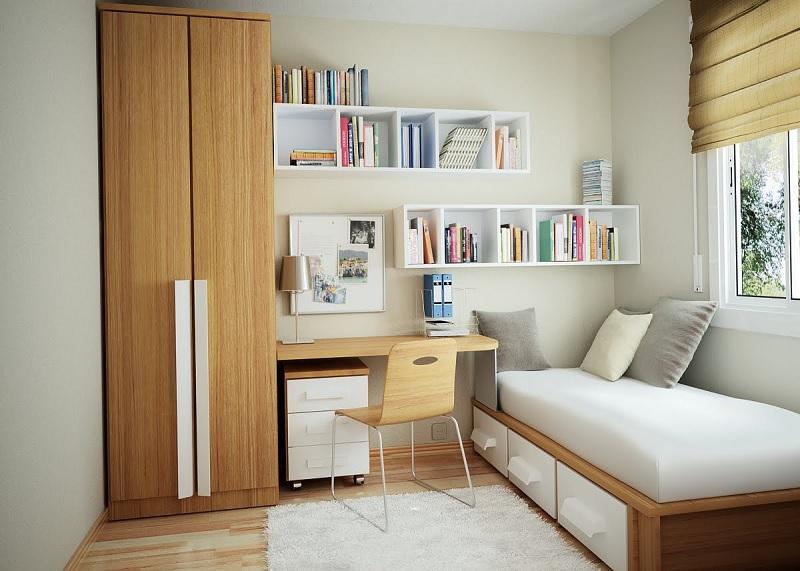 Kệ sách treo tường hình chữ nhật gọn gàng cho phòng ngủ nhỏ. Thích hợp cho phòng ngủ của các bé