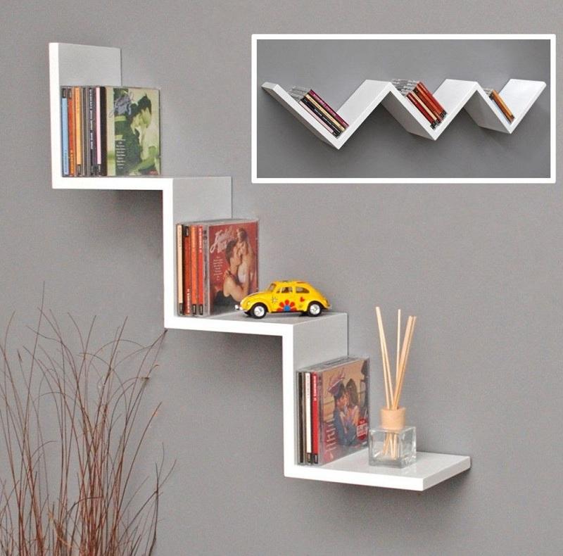 Kệ sách treo tường hình Zigzag sáng tạo dành cho phòng ngủ của bé