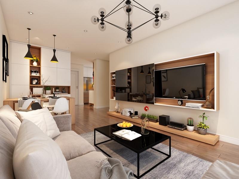 Mẫu trang trí phòng khách chung cư phong cách Nhật Bản