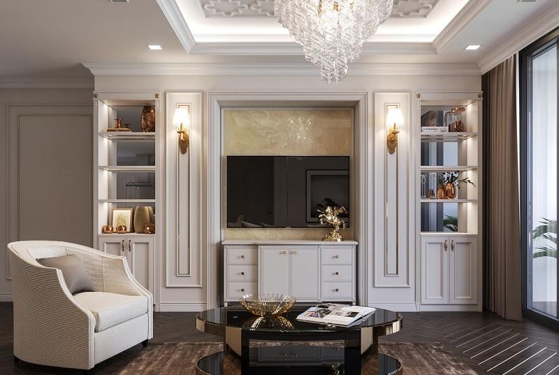 Mẫu trang trí phòng khách chung cư Paris cổ điển