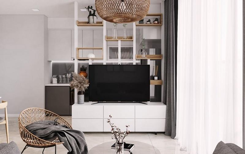 Mẫu tủ trang trí phong cách mở, dành cho các căn chung cư thiết kế nhà bếp, phòng khách chung