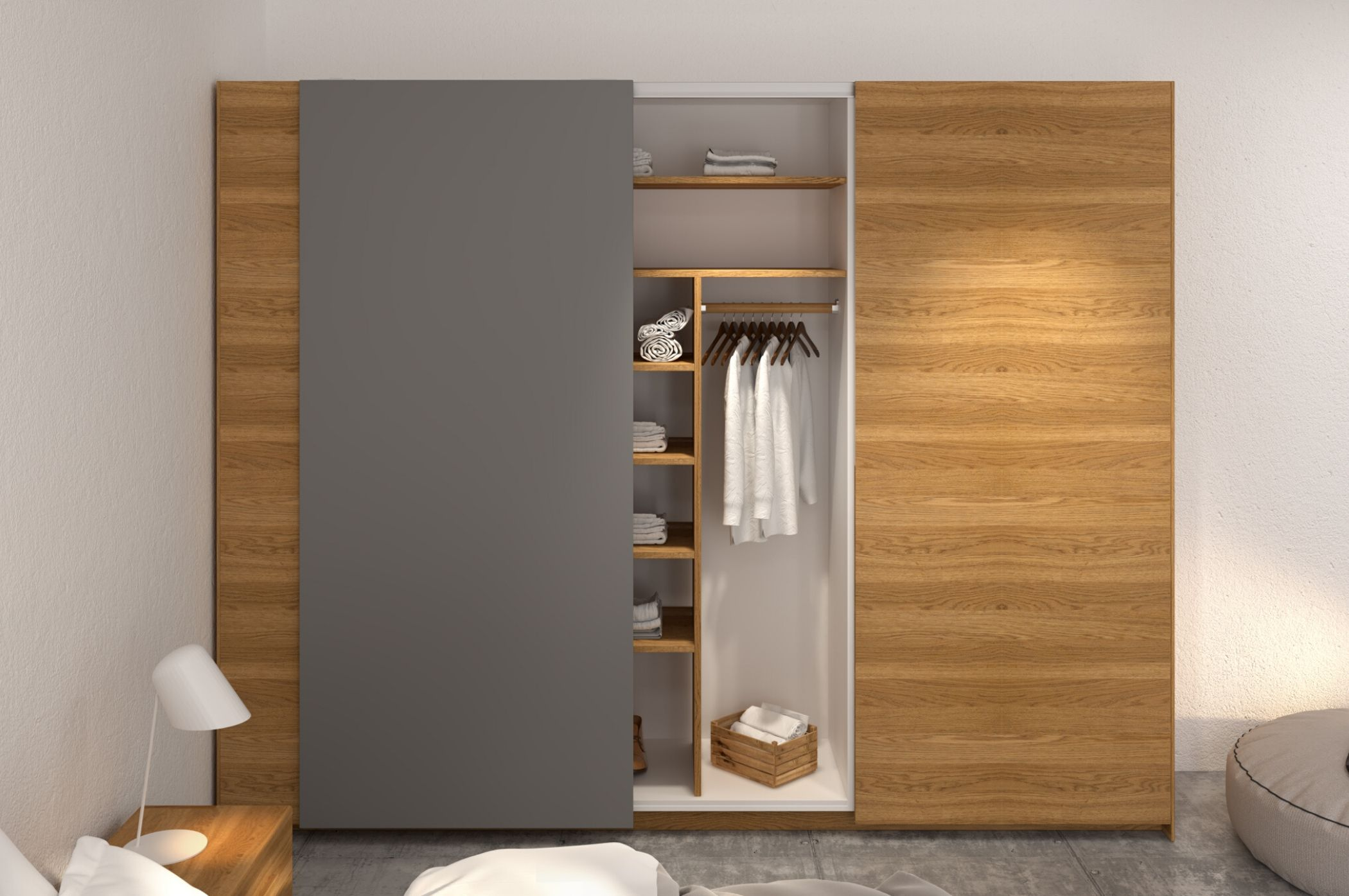 Tủ quần áo được phủ bởi lớp gỗ veneer