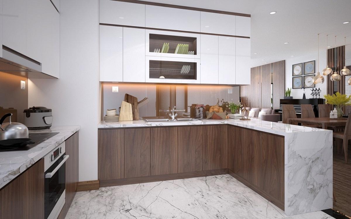Tủ bếp từ gỗ veneer, mang đến không gian phòng bếp sang trọng, hiện đại hơn.