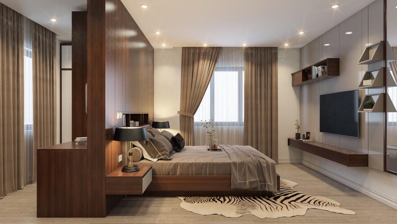 Phòng ngủ được thiết kế sử dụng vách ngăn, giường từ gỗ lạng veneer