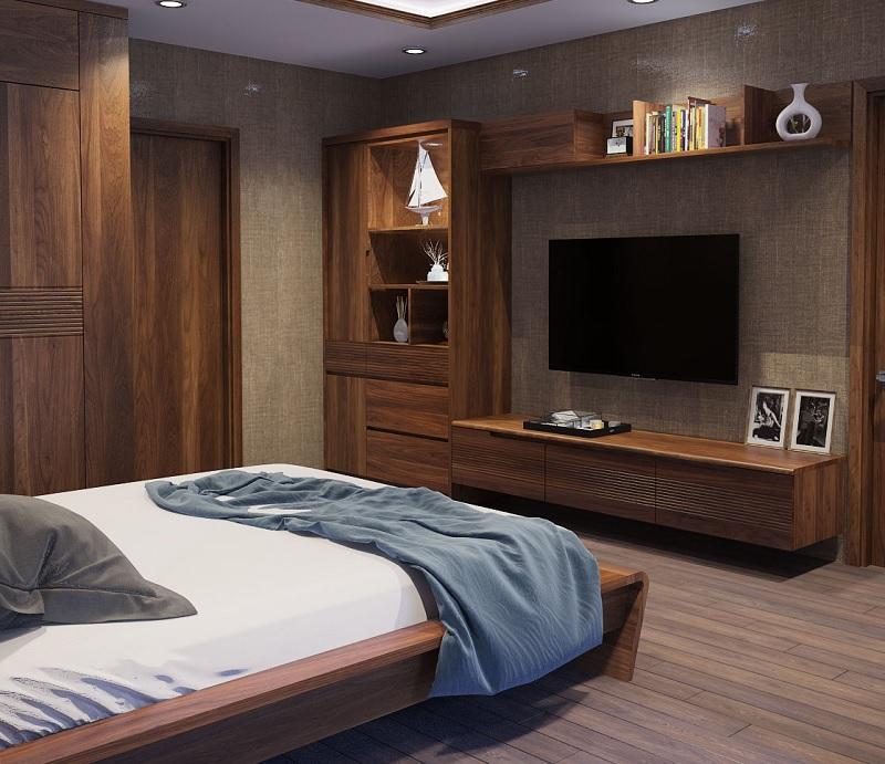 Giường ngủ sử dụng veneer khiến căn phòng trở nên ấm cúng hơn