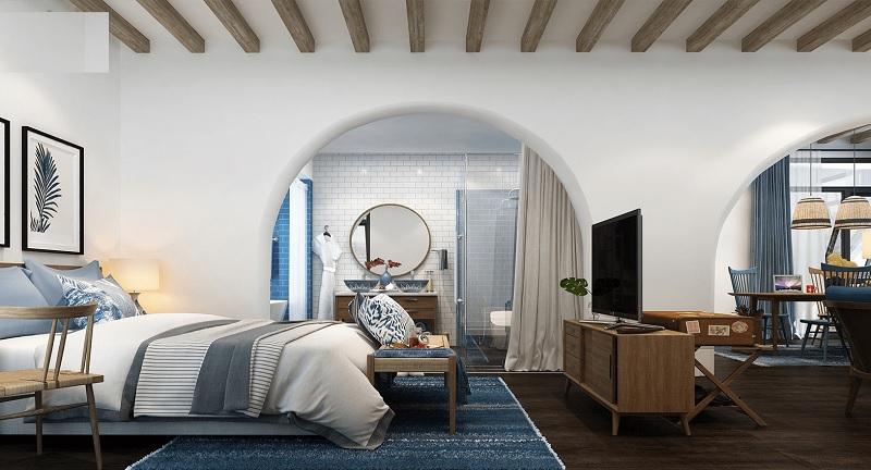 Mẫu thiết kế nội thất phòng ngủ Địa trung hải