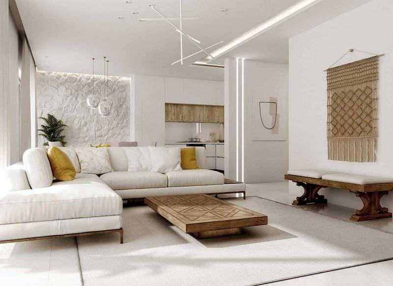 Tường nhà đối với phong cách thiết kế Địa Trung Hải là một trong những vị trí quan trọng tạo nên điểm nhấn cho toàn bộ không gian.