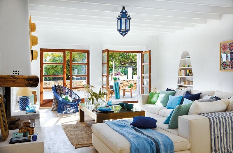 Mẫu thiết kế nội thất phòng khách Địa trung hải - Hy Lạp