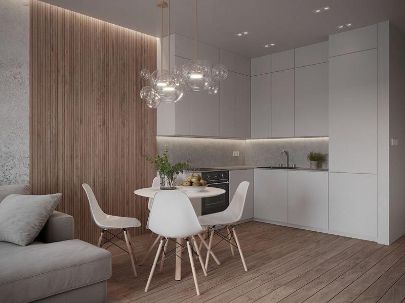Mẫu phòng bếp Đương đại cho chung cư hiện đại