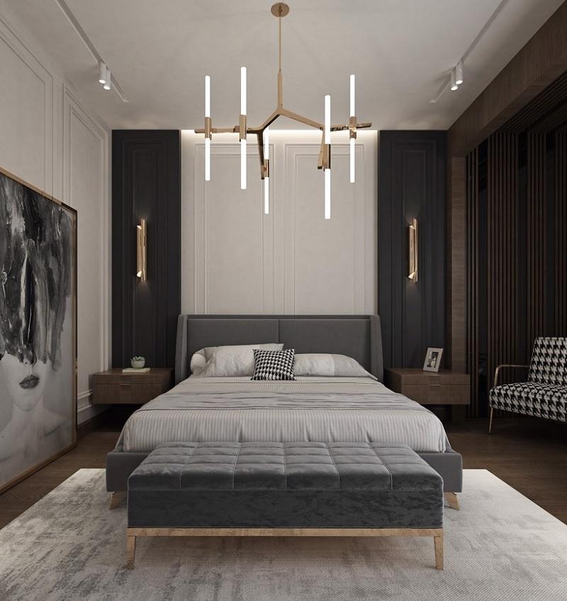 Mẫu phòng ngủ phong cách Đương đại với gam màu trầm, lịch lãm, sang trọng